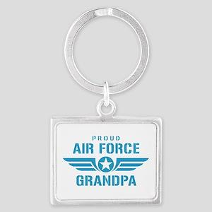 Proud Air Force Grandpa W Landscape Keychain