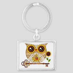 Owls Autumn Song Landscape Keychain