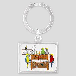 The Parrot's Workshop Logo Landscape Keychain