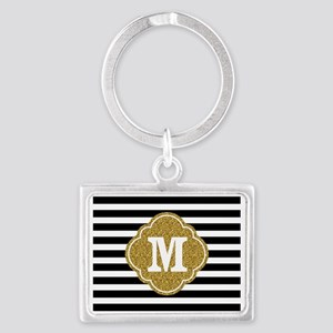Mod Black White Stripes Pattern Gold Mongram Keych