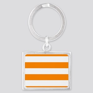 Orange: Stripes Pattern (Horizo Landscape Keychain