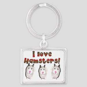 i love hamsters Landscape Keychain