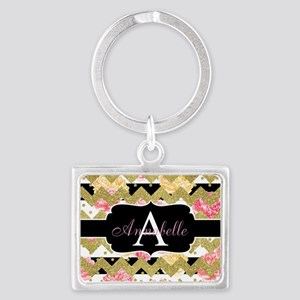 Chic Gold Chevron Monogram Keychains