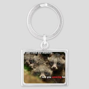 Anti-Fur Raccoon Dog pups Landscape Keychain
