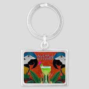 Its 5 OClock Parrots Landscape Keychain
