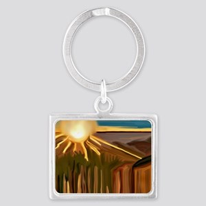 Dance of the Cacti Abstract Art Landscape Keychain