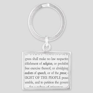 First-Amendment-(white-shirt) Landscape Keychain