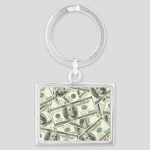 100 Dollar Bill Money Pattern Landscape Keychain