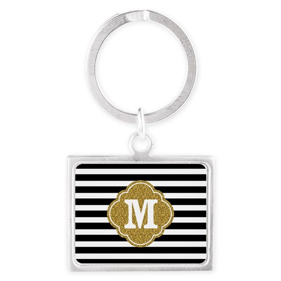 Mod Black White Stripes Pattern Gold Mongram