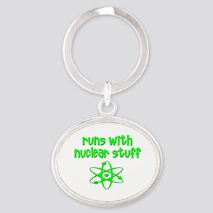 funny nuclear engineer scientist med Oval Keychain