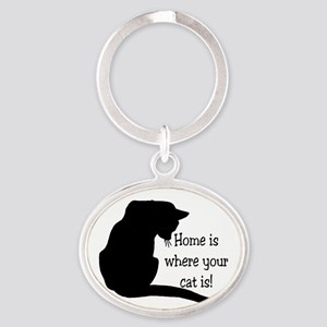 Home Cat Oval Keychain