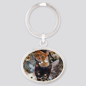 Kitty Collage Oval Keychain
