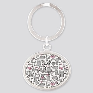 Whimsical Cartoon Cat Pattern Oval Keychain