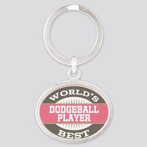 dodgeball player Oval Keychain