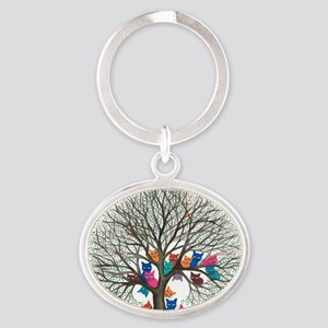 Connecticut Stray Cats in Tree by Lo Oval Keychain