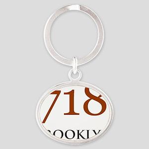 718 Area Codes Base Oval Keychain