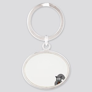 Short Attention White Oval Keychain