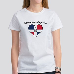 Dominican Republic Flag Heart T-Shirt