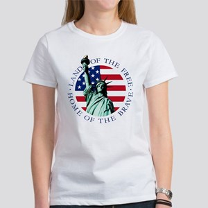 Womens Statue of Liberty American Flag Shirt