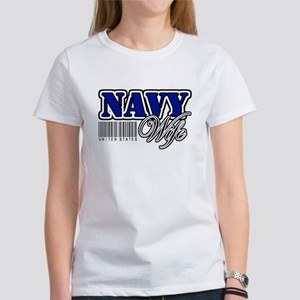 Navy Wife, Blue with barcode Women's T-Shirt
