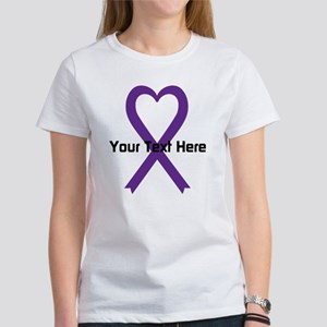 Personalized Purple Ribbon Heart Women's T-Shirt