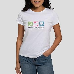 Peace, Love, Bulldogs Women's T-Shirt