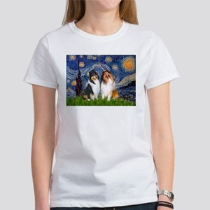 Starry Night / Collie pair Women's T-Shirt