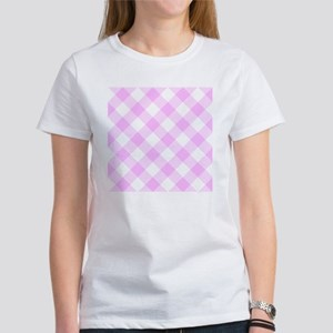 Pale Pink and White Gingham Women's T-Shirt