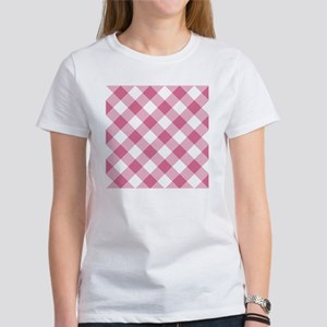 Pale Violet Red and White Gingham Women's T-Shirt