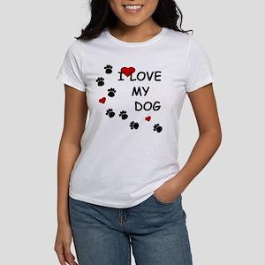 I Love my Dog Paw Prints Women's T-Shirt