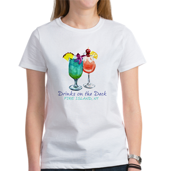drinks on the deck Fire Island t-shirt