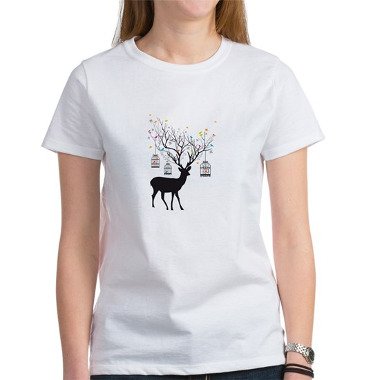 Deer with birds and birdcages