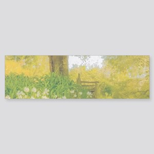 Golden Scene with Tree and Bench Sticker (Bumper)