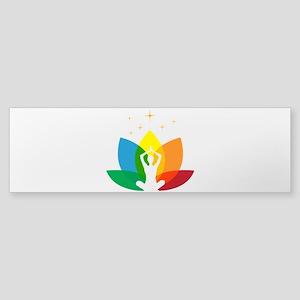 Lotus Flower and Yoga Pose Sticker (Bumper)