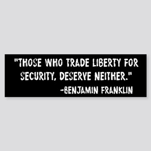 Franklin Quote Liberty For Security Sticker (Bumpe