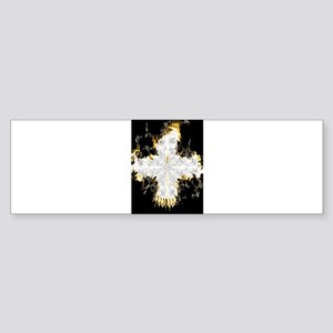 Yellow Flaming Cross Bumper Sticker