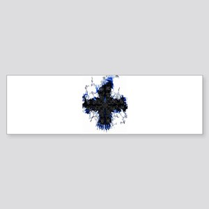 Black & Blue Flaming Cross Bumper Sticker
