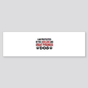 Protected By Great Pyrenees Dog Sticker (Bumper)