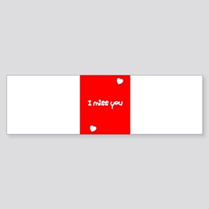 I Miss You Heart Valentines Red for Bumper Sticker