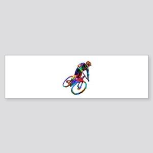 Technicolor Mountain Biker Racing D Bumper Sticker