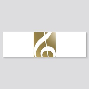 Treble Clef on Gold Bumper Sticker