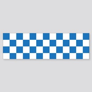 BLUE AND WHITE Checkered Pattern Bumper Sticker