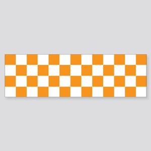 ORANGE AND WHITE Checkered Pattern Bumper Sticker
