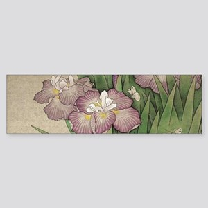 romantic vintage iris flower garden Bumper Sticker
