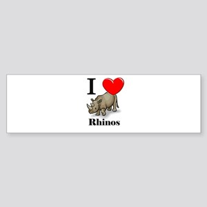 I Love Rhinos Bumper Sticker