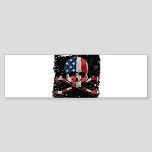 Skull with American Flag Bumper Sticker
