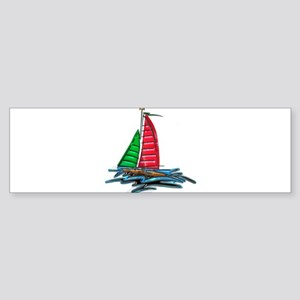 Red and Green Xmas Sailboat Bumper Sticker