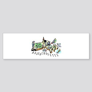 Massachusetts Map Bumper Sticker