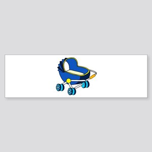 blue themed baby carriage graphic Bumper Sticker