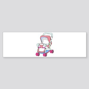 Fancy pink baby stroller graphic Bumper Sticker